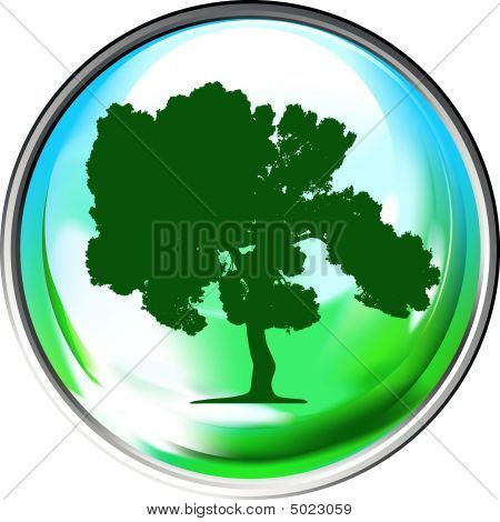 Vector Globe With A Single Tree Within