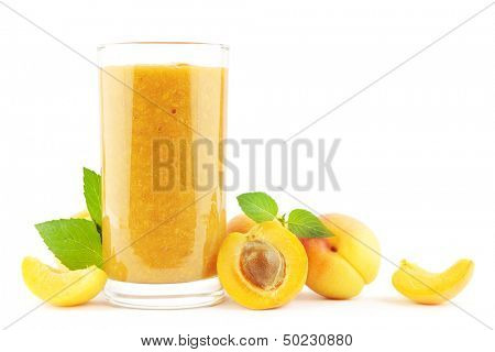Fresh apricot smoothie with apricots on white