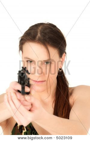 Young Woman Holding Pistol