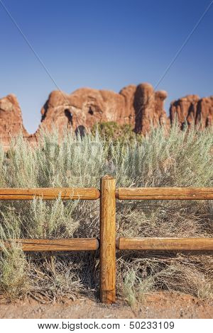Wooden Fence In Arches National Park
