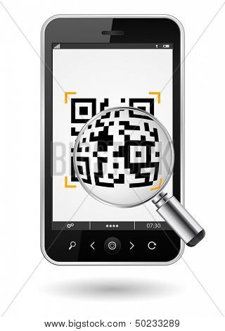smartphone with QR code and mgnifying glass icon