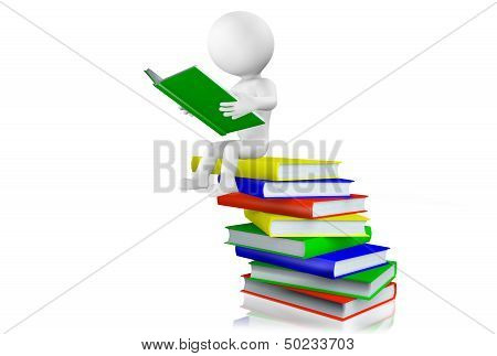 3d man reading on a pile of books
