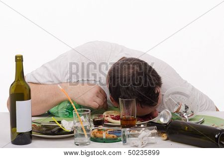 Oilhead drunk and asleep in a plate