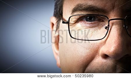 Eye with glasses. Ophthalmologist.
