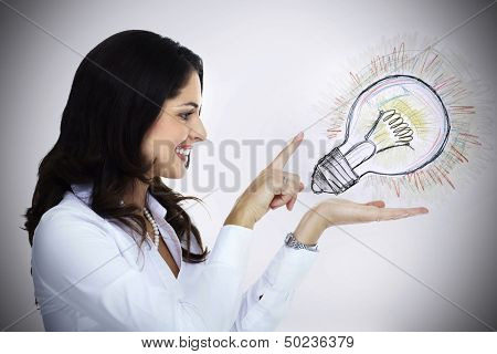 Business woman with lightbulb. Idea concept background.