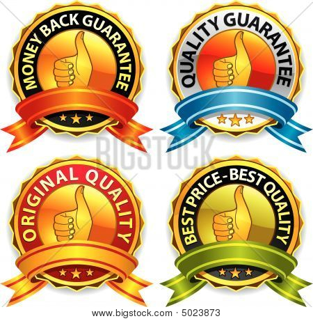 Guarantee Badges With Ribbon