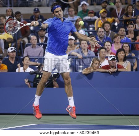 Seventeen times Grand Slam champion Roger Federer during his fourth round match at US Open 2013