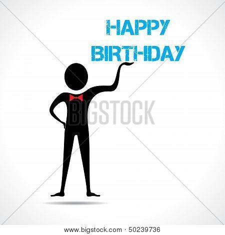 Man holding happy birthday text