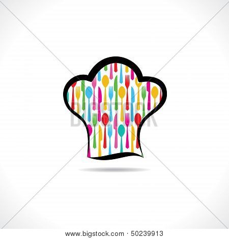 cutlery inside on chef hat background