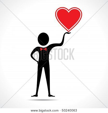 Man holding a heart icon