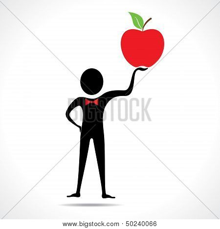 Man holding a apple vector