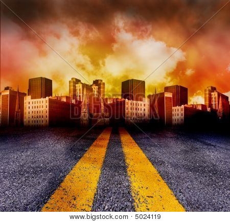 Road Going Into The City With Red Sunset