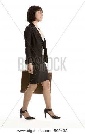 Young Business Woman Walking