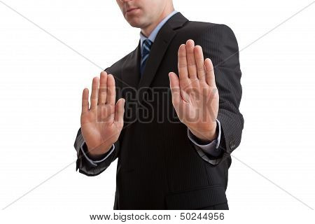 Businessman Showing Stop Sign