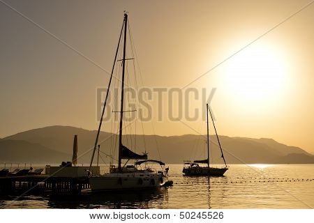The Sunrise And View On Yachts Harbor, Marmaris, Turkey