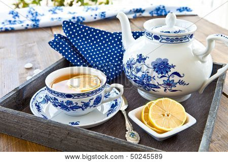 Hot Tea With A Slice Of Lemon