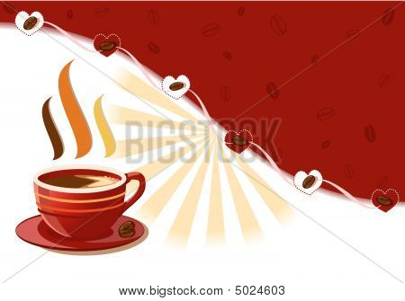 Aromatic Fresh Cup Of Coffee With Hearts And Rays Burst