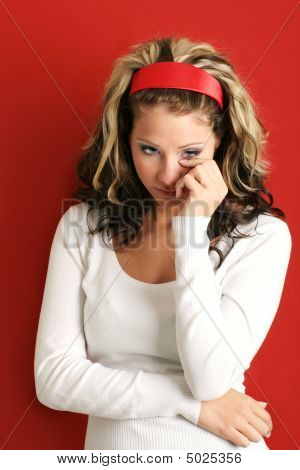 Unhappy Woman Is Crying