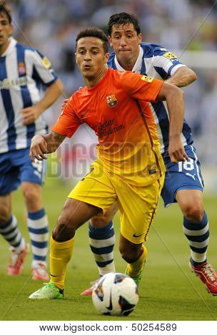 BARCELONA - MAY, 26: Thiago Alcantara of FC Barcelona during the Spanish League match between Espanyol and FC Barcelona at the Estadi Cornella on May 26, 2013 in Barcelona, Spain