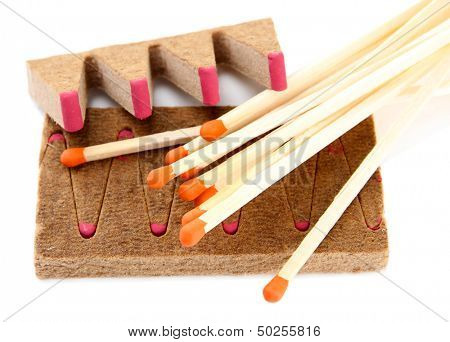 Long matches and dry fuel, isolated on white