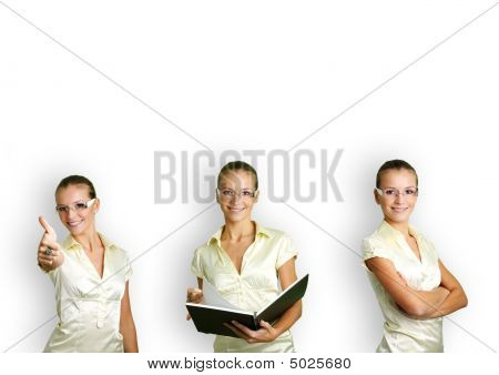 Collage Of A Woman In Some Business Situations