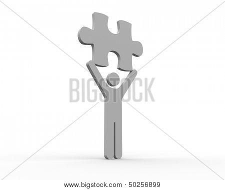 Human figure brandishing jigsaw piece on white background