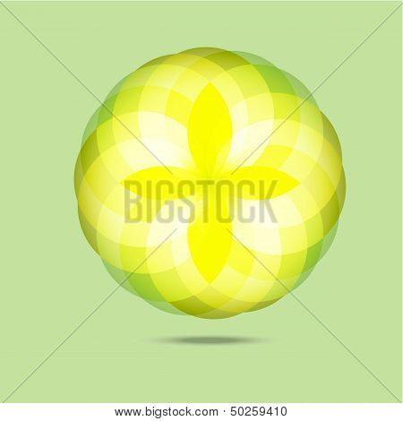 Yellow Diamond Flower In The Air Abstract Background