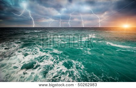 Storm on the sea. Nature design.