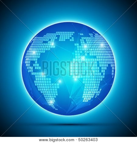 Blue Global Network Globe Vector Background