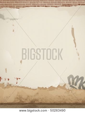 Old damaged wall - background - eps 10 vector