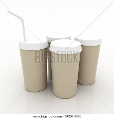 plastic fast food glasses with tubule on a white background