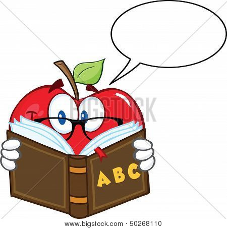 Apple Teacher Character Reading A Book With Speech Bubble