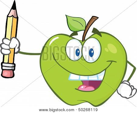 Green Apple Holding Up A Pencil