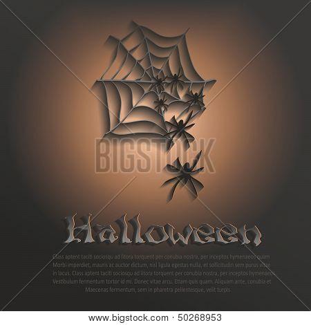 vector halloween cobweb spider dark paper 3D