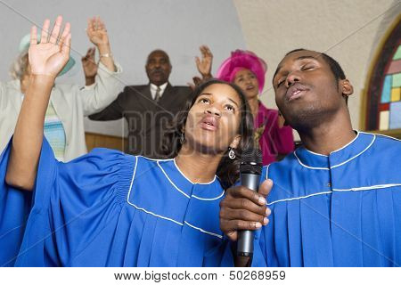People singing in church