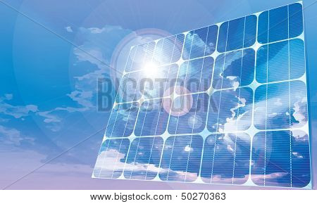 Solar battery - blue sky -fully vector