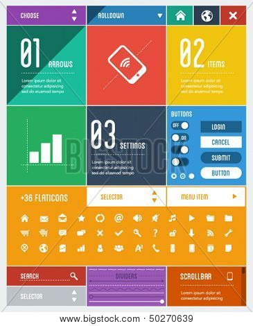flat user interface template + 36 flat icons, design elements, colors, dividers, graphic layout