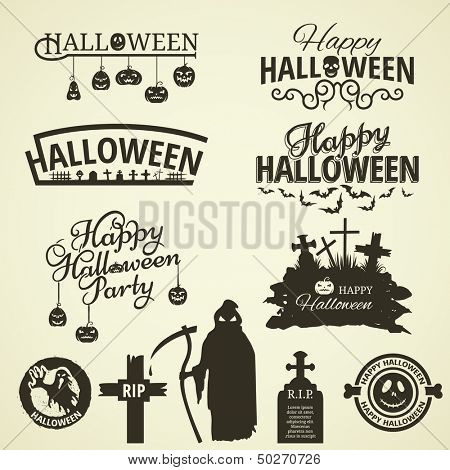 Halloween label and tags in retro style