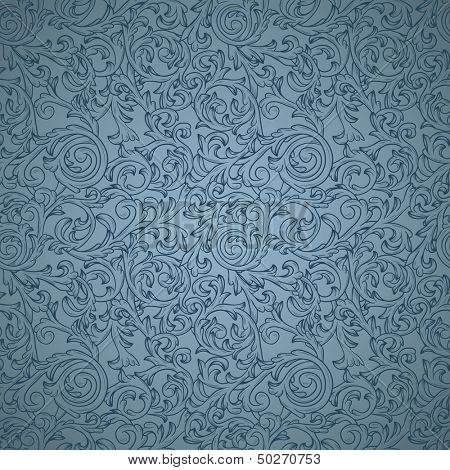 Vintage seamless pattern on blue background with elegant floral curls