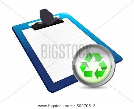 Clipboard And Recycle Illustration Design