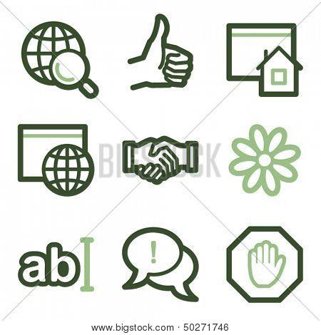 Internet icons set 1, green line contour series
