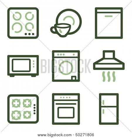 Home appliances icons, green line contour series