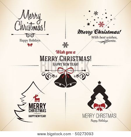 Christmas and New Year symbols for designs postcard, invitation, poster and others