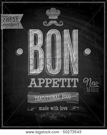 Vintage Bon Appetit Poster - Chalkboard. Vector illustration.
