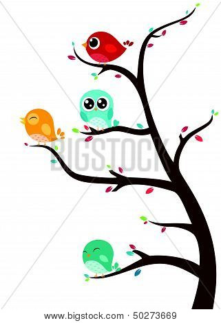 Birds sitting on branches
