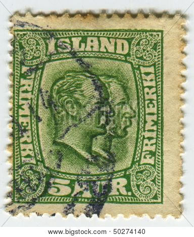 ISLAND - CIRCA 1907:A stamp printed in Island shows image of the Christian IX  was King of Denmark and Frederick VIII (Christian Frederik Vilhelm Carl) was King of the Kingdom of Denmark, circa 1907.