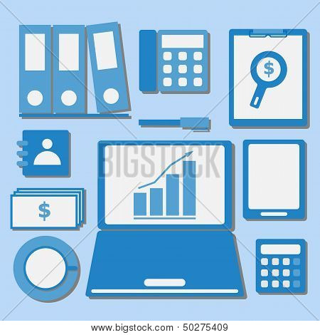 Internet Investor At Home Office Color Icons