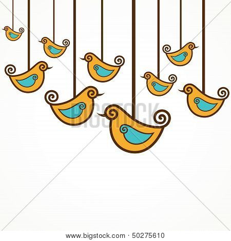 Funny yellow vector birds on the strings
