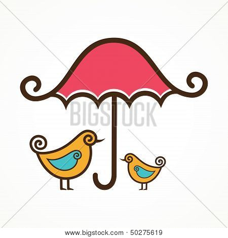 Couple of cute vector birds under pink umbrella