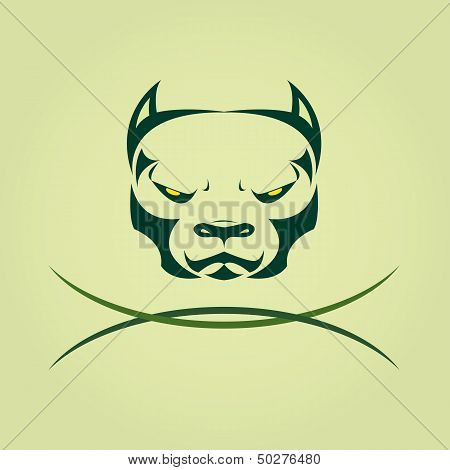Vector Image Of Head Dog Pitbull.